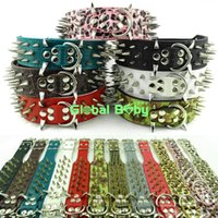 pit bull - High Quality Leather Studded Sharp Spikes Dog Strong Collar for Pit bull Medium Large Pieces