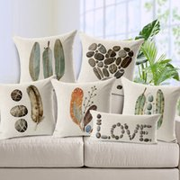 Wholesale Watercolor Throw Pillow Case Europe Style Ikea Cushion Cover Feather Stone Print Pillow Covers Home Vintage Pillow Case X45CM