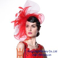 african ladies wear - Junesyoung Fashion Women Fascinator Hats Hot Red Color Feather Hair Accessories Wedding Wear Elegant Lady Bride Hot Sale