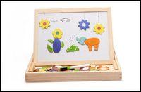 alphabet baby building blocks - 2015 toddler kids fancy toys wooden magnetic multifunctional learning toys baby building blocks sketch pad double size J071006 DHL FREESHIP