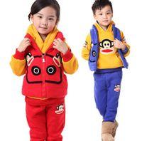 Wholesale Winter Unisex Clothing Set Children Long Sleeve Monkey Hoodies Long Trousers Zipper Coat Set Kids Casaul Outfits Red Blue Gray M2075