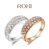 Wholesale Round clear crystal K Gold platinum plated ring fashion jewelry Made with Genuine Austrian Crystals Full Size