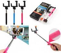 Wholesale 2015 New Z07 Plus z07 Z07 S Extendable Wired Monopod Selfie Stick Tripod Handheld Monopod Cable Take Pole for IOS Android DHL free