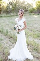lace bow - In Stock Wedding Dresses under V neck Mermaid Organza Lace Modest Wedding Gowns Bridal Dress