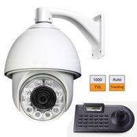Wholesale 6 quot TVL Auto Tracking High Speed Dome PTZ Camera w Axle Keyboard Controller