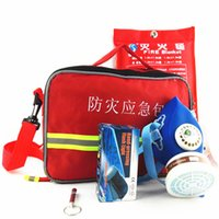 Wholesale Fire escape first aid kit suits Fire blanket High frequency survival whistle0 Self generating flashlight antigas mask