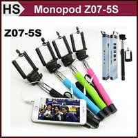 Cheap Z07-5S Selfie Monopod Cable Wired Take Pole Extendable Stick + Cell Phone Clip Holder Handheld Remote Controller For iPhone 5 6 Samsung S6
