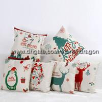 Wholesale Christmas Decorations Home Textiles Decor Sofa Linen Cotton Pillow Cover Cushion Case Pillowslip x45cm