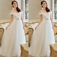 Wholesale 2015 Off Shoulder Long A line Chiffon Wedding Dresses Summer Beach Backless Bridal Gowns with Sash Floor Length Cheap Bridal Gowns