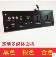 Wholesale HDMI VGA USB NETWORK dual audio video and audio information outlet panel multimedia home hotel rooms KTV wall socket Q