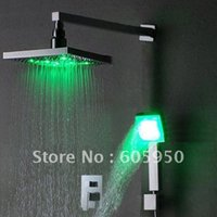 Wholesale Chrome Wall Mounted LED Shower Set With Inch Shower Head IWL