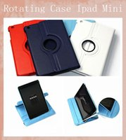 Wholesale For Ipad Smart Rotating Case Degree Rotary Stand PU Leather Cover Lichee Pattern For iPad Mini Mini Retina Various Colors PCC014