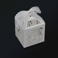 Wholesale 50pcs pack Romantic Mini Birdcage DIY Candy Cookie Gift Box for Wedding Party Decoration with White Ribbon Event Party Supplies H15475