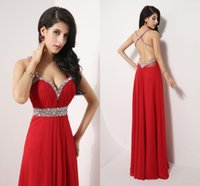 Wholesale Sexy Real Image Backless Crystal Red Prom Party Dresses Beads Spagghetti Sweetheart Long Homecoming Celebrity Evening Gowns Cheap
