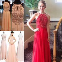 Wholesale 2015 Classic Chiffon Evening Gowns Top Selling Halter Backless Long Prom Dresses For Womens Cheap Formal Party Gowns Crystals Blush Vestidos