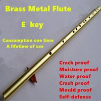 Wholesale Brass Metal Flute E Key Metal Flauta One Section Profesional Musical Instrument Flute Self defense Weapon Flautas Chinese Flute