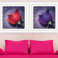 Wholesale DIY Rhinestone Drawing Simulation Diamond Cross Stitch Home Decoration Rose Pattern Simulation Diamond Drawing
