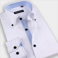 Wholesale Hot Mens Casual Unique neckline Stylish Brand Shirts Pure Colour Fashion Long Sleeve shirts New High Quality