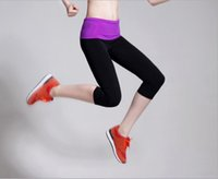 Wholesale 2014 modal color block decoration female elastic sports fitness running Shorts yoga capris tight capris
