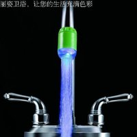 Wholesale hot Led temperature sensor three colors changing faucet self powered light tap tap with adapter for Christmas Xmas gif