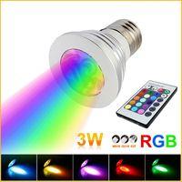 Wholesale 3W E27 GU10 E14 MR16 LED RGB Bulb Colors Changing W LED Spotlights RGB LED Light Bulb Lamp w Keys Remote Control V V