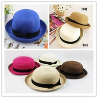 dress hats - Hot sale Straw Wide Brim Hats womens dress hats New Korean Curling sun hat Lovely Dome Beach Hat DHL