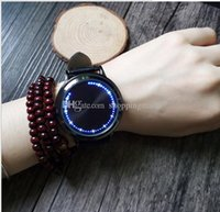 bands flash designer - New Fashion Unisex Touch Screen Designer Blue Led Flashing Leather Band Sport Mens Watch Watches Wristwatches