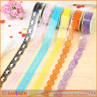 Wholesale 1 CM Lace Tape DIY Diary Album Photo Decorative Stickers Masking Tape Scrapbooking Tools Stationery
