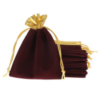 Wholesale x15cm Velveteen Purplish Red Velvet Gold Trim Drawstring Jewelry Gift String Christmas Wedding Bags Pouches