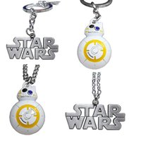 Zinc Alloy bb holders - DHL New Star Wars Necklaces BB Necklace keychains Star Wars letter Keychain necklace Metal Cartoon Key ring Vintage Bag Pendent E45