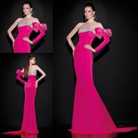 Wholesale Fashionable Evening Dresses Rose Red Prom Dresses to Party Sheath Formal Dress One Shoulder Long Sleeve With Bow Crystal Court Train Gowns