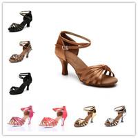 Wholesale Heel cm heel cm colors Satin PU Latin dance shoes for women Salsa Ballroom Tango shoes zapatos de baile ss217
