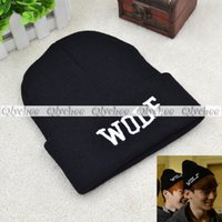 Cheap Wholesale-Fashion Black Kpop Wolf Type Knitted Hat Soft Elastic Beanie 2015 New For Women Men Winter Novelty Look
