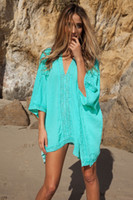 Cheap Beach Jacket 2015 New People cotton and lace Beach Blouse Bikini Blouse Beach swimwear coat Blue