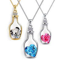 bottle necklace - Romantic Alloy Necklace Chain Drift Bottle Ceystal Rhinestone Pendant Necklaces For Women Jewelry