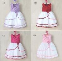 Wholesale NEW Frozen Sleeveless princess dress multicolor girls dress Rose flower children evening dresses summer kids clothing onsale china HB