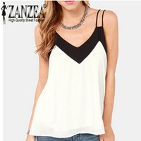 Wholesale Summer Style Sexy Womens Sleeveless Halter Blouses Casual Vest Loose Chiffon Blouse V Neck Tank Tops Plus Size White