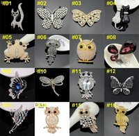 Wholesale Top Quality Christmas Brooch Animals Brooch Pieces Rhinestone Pearls Brooches BRW01