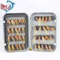 Wholesale 40pcs High Quality Fly Fishing Lure Set For Fishing red color fly fishing tackle trout dry lure hook set with box