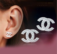 sterling silver earrings - 2015 Brand New Jewelry Double Earrings Stud Swiss Diamond Sterling silver Earrings for Wedding Party