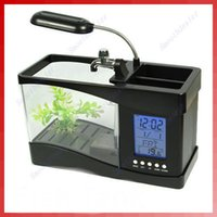 Wholesale Mini LCD Desktop Fish Tank Aquarium Clock Timer USB AA
