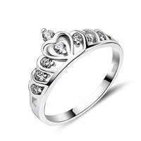 Cheap GNJ0047 Free shipping 925 Sterling Silver Crown Ring Fashion Silver Jewelry CZ Crystal Engagement Wedding Rings For Women Christmas Gift