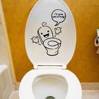 bathroom tiles sale - Hot Sale Waterproof Sided Toilet Seat Sticker Visual Bathroom Decoration Decals Decor Art