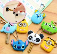 Wholesale Kawaii key chain minions cartoon key caps Animal Silicone Key Caps Covers Keys Keychain key Case key Shell