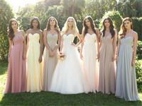 Wholesale Cheap Custom Bridesmaid Dresses Full length Empire Maternity Sweetheart Plus Dress Chiffon A Line Ruffles Pageant Evening Dress Formal Gowns