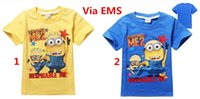 Wholesale 2015 Boys Clothes Despicable Me Cartoon Short Sleeve Cotton Tshirt Kids Minions Top Tees Colors For yr Via EMS