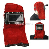 Wholesale Red Leather Face Neck Protected Lens Glasses Welding Hood Helmet Mask Overhead