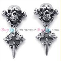 Wholesale Hot seller rock male Stainless steel black crystal skull stud earrings exquisite gifts