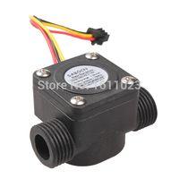 Wholesale G1 Water Flow Sensor Fluid Flowmeter Switch Counter L min Meter E2shopping A3