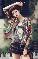 Wholesale New Spring Women Outerwear Vintage Women Lady Ethnic Floral Print Embroidered Short Jacket Slim Coat